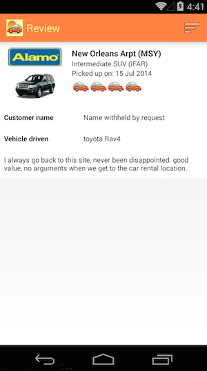 View details of individual customer reviews